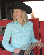 Cinch Women's Stripe Button Down Shirt - Aqua