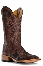 "Cinch Womens 11"" Caiman Wingtip Narrow Square Toe Cowboy Boots - Chocolate (Closeout)"