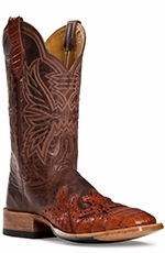 "Cinch Womens 11"" Caiman Wingtip Narrow Square Toe Cowboy Boots - Cognac (Closeout)"