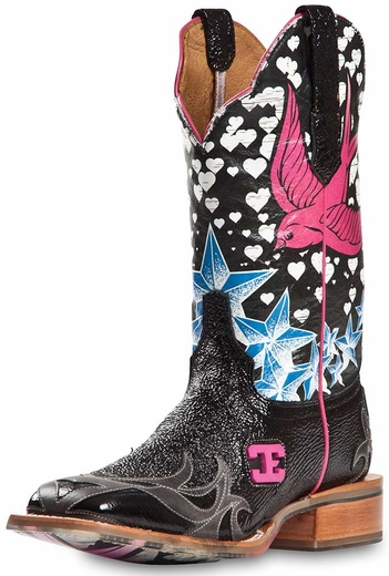 Cinch Edge Womens Stella Square Toe Cowgirl Boots - Black