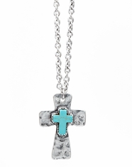 Cindy Smith Women's Cross Stone Necklace - Silver/Turquoise (Closeout)