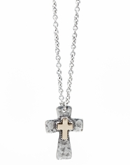 Cindy Smith Women's Cross Two Tone Necklace - Silver/Gold (Closeout)