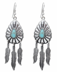 Cindy Smith Women's Feather Earrings - Antique Silver (Closeout)