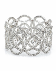 Cindy Smith Women's Geometric Stretch Bracelet - Silver (Closeout)
