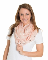 Cindy Smith Women's Metallic Cross Scarf - Blush/Silver (Closeout)