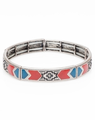 Cindy Smith Women's Southwest Painted Stretch Bracelet - Coral/Blue (Closeout)