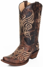 Circle G Womens Snip Toe Cowboy Boots - Distressed Brown (Closeout)