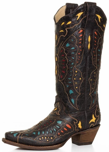 Corral Boots - Women's Butterfly Inlay Cowboy Boots - Yellow/Red/Turquoise