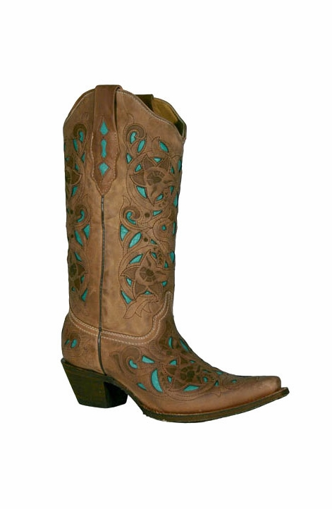 Corral Boots - Women's Goat/Laser Overlay Cowboy Boots - Chocolate-Sand/Turquoise