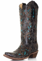 Corral Boots - Women's Turquoise Overlay Cowboy Boots - Black/Cognac/Turquoise