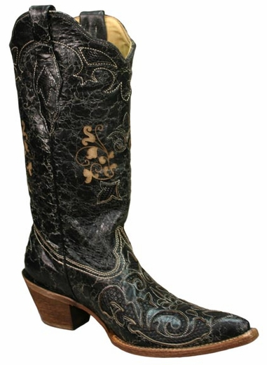 Corral Boots - Women's Vintage Lizard Overlay Cowboy Boots - Black (Closeout)