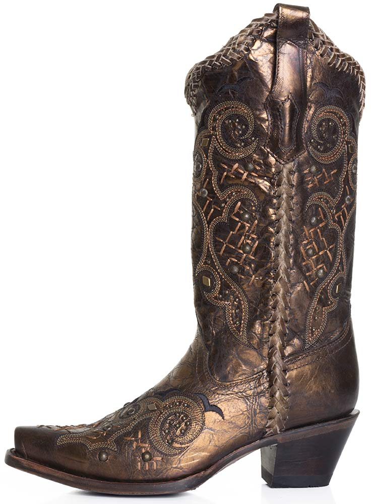 Corral Boots Womens Studded Whip Stitch Cowboy Boots Bronze