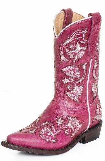Corral Kids Floral Full Stitch Cowboy Boots - Pink (Closeout)