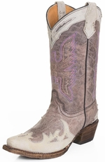 Corral Kids Eagle Stitch Snip Toe Wing Tip Cowboy Boots - Lavender/Bone (Closeout)