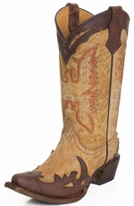 Corral Kids Eagle Stitch Snip Toe Wing Tip Cowboy Boots - Tan/Chocolate