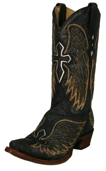Corral Men's Distressed Black Boots with Gold Wings and Silver Crosses