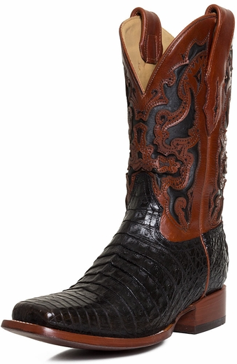 Corral Mens Caiman Belly Square Toe Boots - Black/Brown