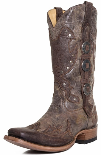 Corral Mens Square Toe Studded Concho Boots - Brown (Closeout)