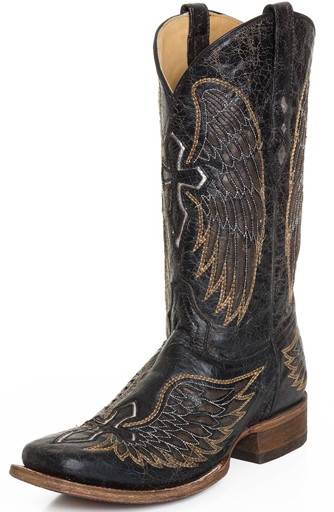 Corral Men's Distressed Black Cowboy Boots with Wings