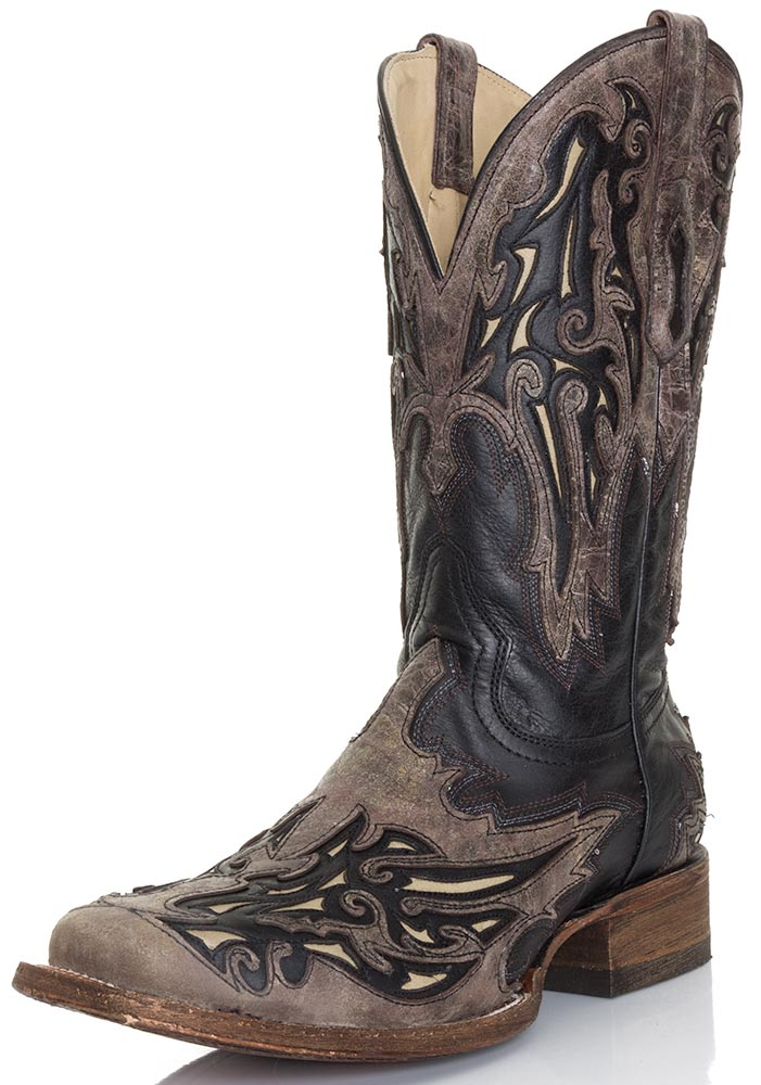 Corral Mens Square Toe Cowboy Boots- Black/Brown