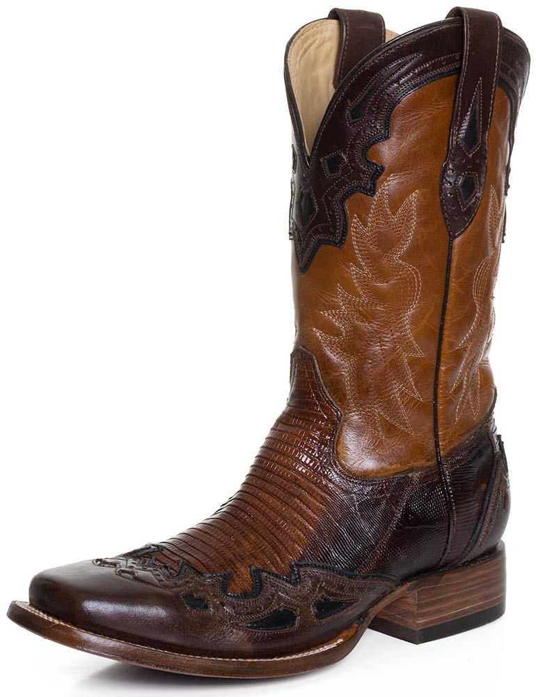 Corral Mens Square Toe Lizard Wingtip Cowboy Boots - Black/Bronze