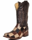 Corral Mens Square Toe Ostrich Patchwork Boots - Black/Brown/Tan