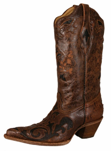 Corral Vintage Women's Boots with Lizard Overlay - Chocolate/Black (Closeout)