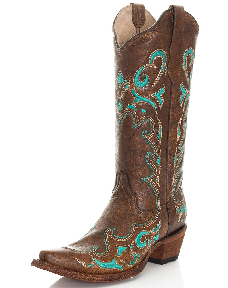 Corral Women S 13 Quot Circle G Embroidered Snip Toe Boots Brown
