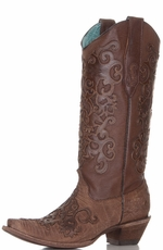 Corral Women's Cognac Goat and Lizard Cowboy Boots with Laser Cutout Overlay (Closeout)