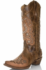 Corral Women's Distressed Leather Western Boots with Crystal Horseshoe - Sand