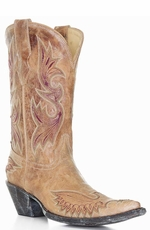 Corral Women's Eagle Stitched Distressed Crackle Saddle Boots - Tan (Closeout)