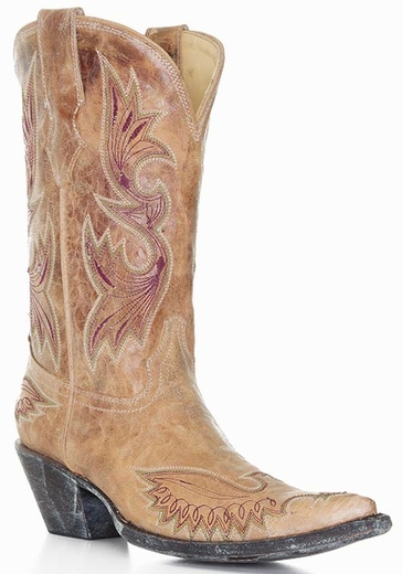 Corral Women's Eagle Stitched Distressed Crackle Saddle Boots - Tan