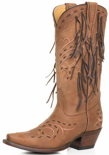 Corral Women's Fringe Cowboy Boots - Honey