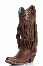 Corral Women's Fringed Cowboy Boots with Studs - Sierra Tan