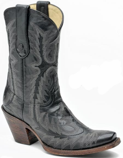 Corral Women's Goat Cowboy Boots with Stitched Vamp and Tube - Black