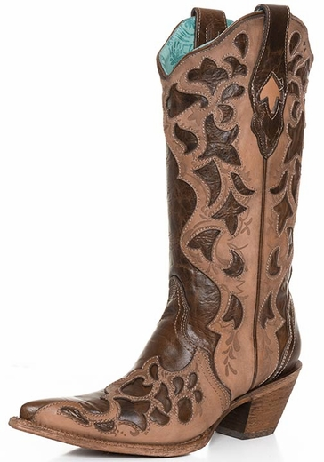 Corral Women's Laser Cut Overlay Cowboy Boots - Chocolate Truffle/Sand (Closeout)