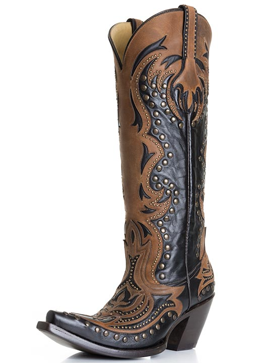 Corral Women's Laser Inlay Cowboy Boots with Studs - Black/ Cognac