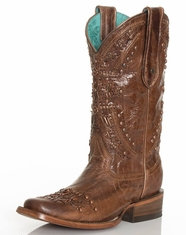 Corral Women's Metallic Knit Square Toe Boots - Brown