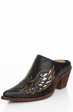 Corral Women's Mules with Silver Wing and Cross Underlay - Black (Closeout)