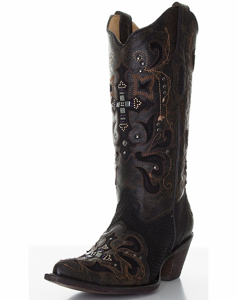 Corral Women's Python Cowboy Boots with Leather Overlay, Crystals, and Studs - Black