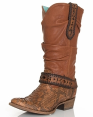 Corral Women's Python Harness Slouch Boots - Honey