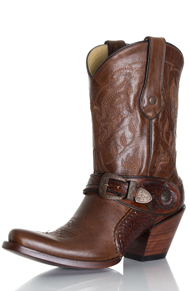 Corral Women's Saltillo Golden Harness Boots w/Tooled Sole - Brown