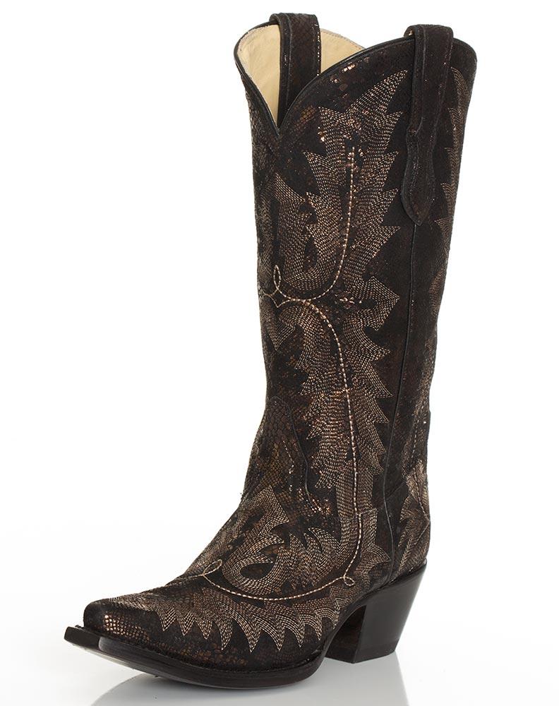 New Corral Womenu0026#39;s 13u0026quot; Braided Snip Toe Boots - Tan