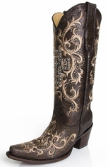 Corral Women's Studded Cross Tall Top Boots - Vintage Black