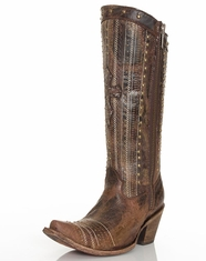 Corral Women's Tall Top Studded Crystal Cross Boots - Brown