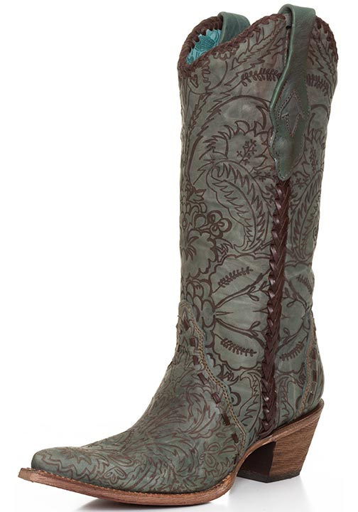 Corral Women's Turquoise Engraved Lace Cowboy Boots