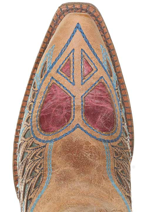 Corral Women's Western Boots with Winged Peace Hearts - Saddle/Blue/Red