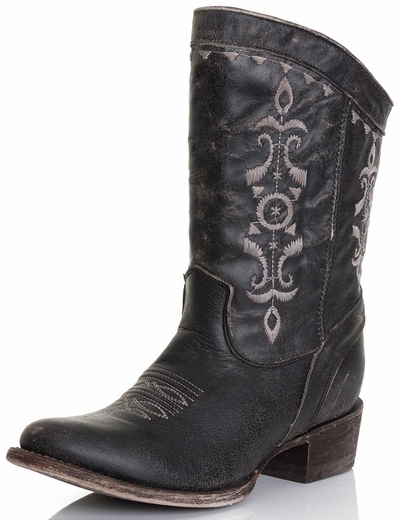 Corral Womens Short Embroidery Crackle Boots - Black