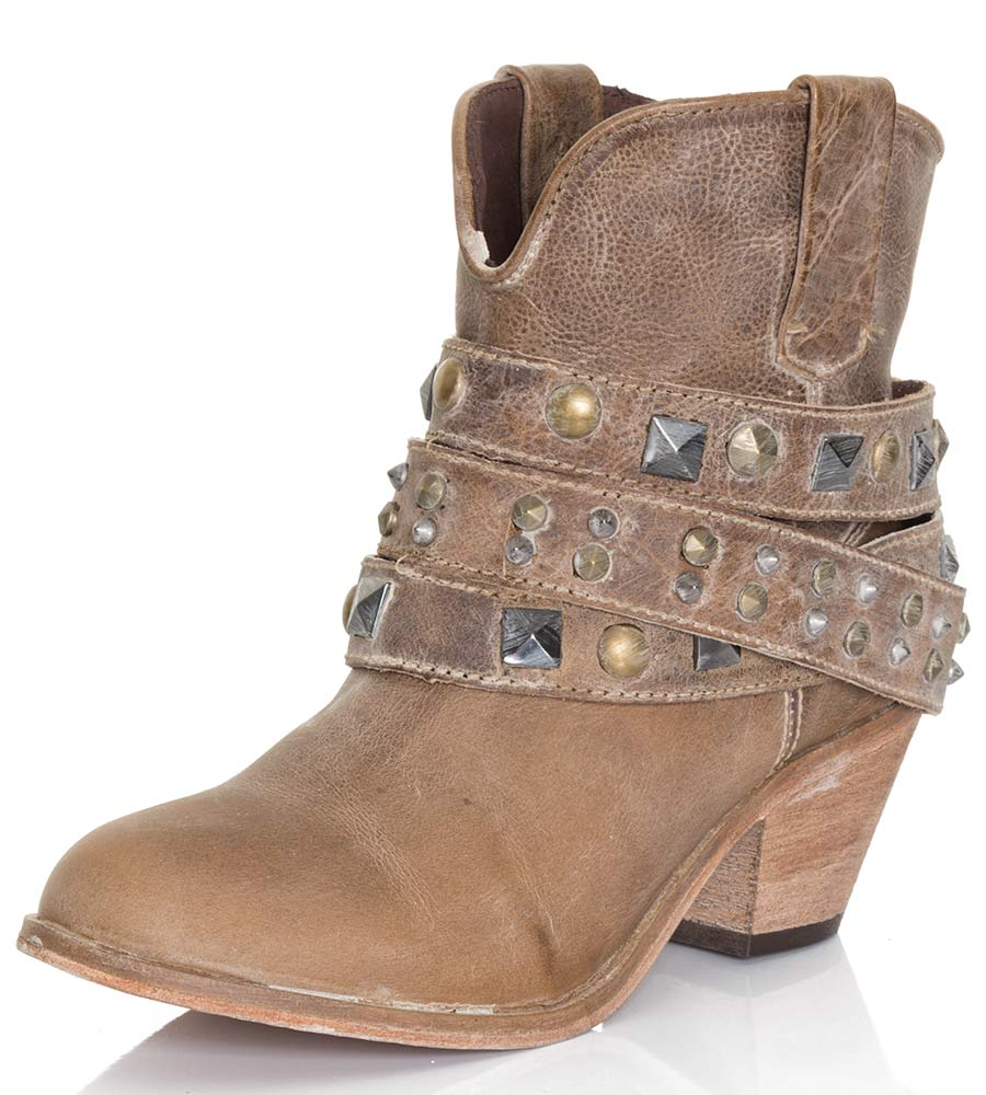 Corral Womens Studded Strap Ankle Cowboy Boots Taupe