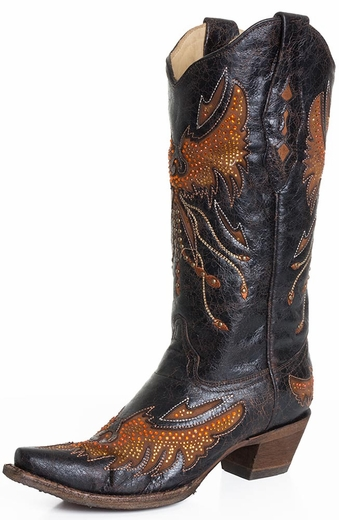 Corral Womens Rhinestone Eagle Studded Boots - Black/Cognac (Closeout)